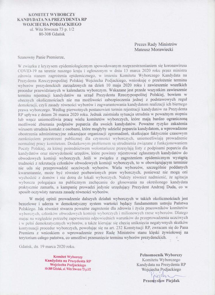 pismo do Premiera Mateusza Morawieckiego